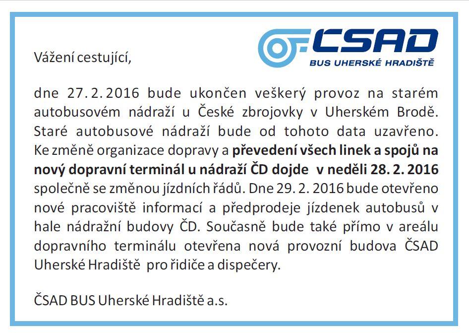 Plánek stanovišť - Autobusové nádraží - Terminál Uherský Brod