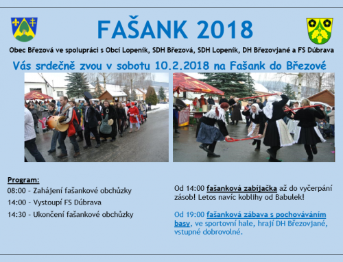 Pozvánka: FAŠANK 2018 na Březové 10.2.2018