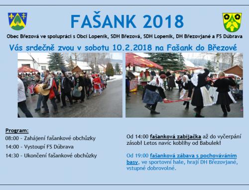 Pozvánka: FAŠANK 2018 na Březové 10.2.2018